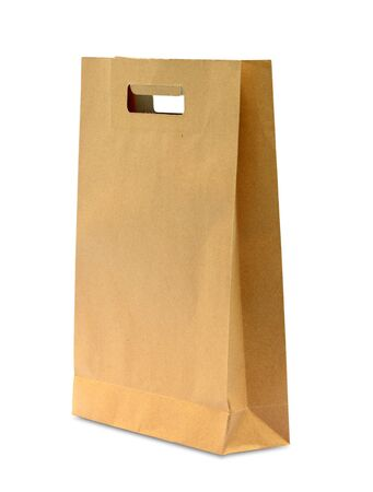 blank brown paper bag isolated on white background photo