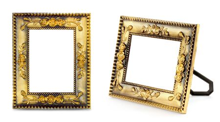 Gold frame on the white background Stock Photo - 13642087