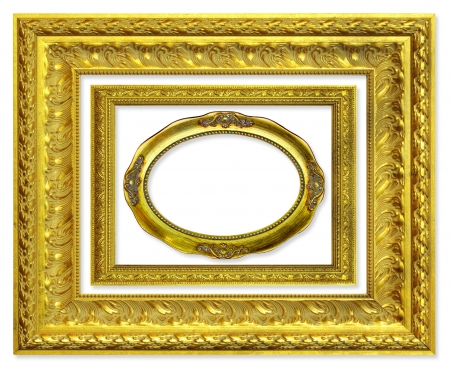 The antique gold frame on the white background Stock Photo - 13732570