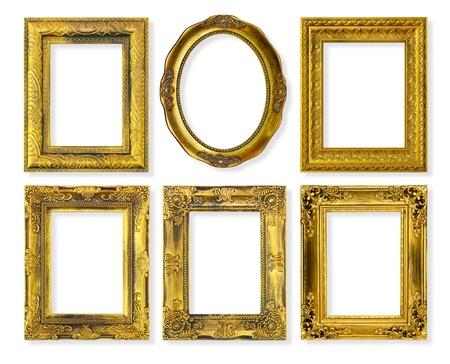 baroque: El marco de oro antiguo en el fondo blanco Foto de archivo