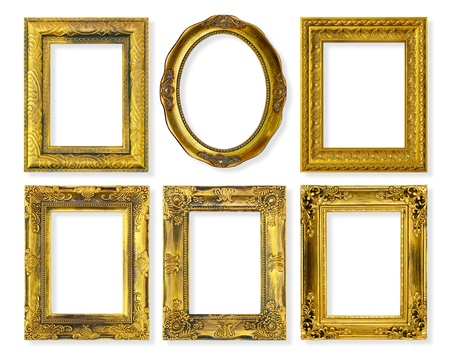 picture frame on wall: The antique gold frame on the white background