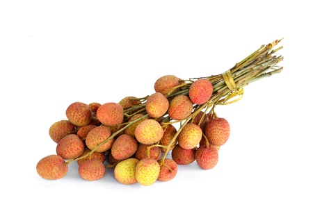 Lychees on white background photo