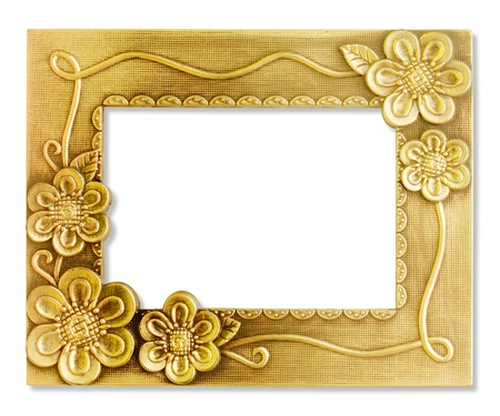 old photo border: The antique gold frame on the white background