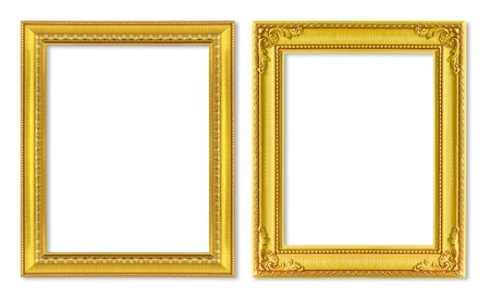 The antique gold frame on the white background Stock Photo - 14250816