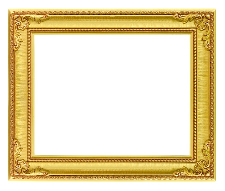 The antique gold frame on the white background Stock Photo - 14250772