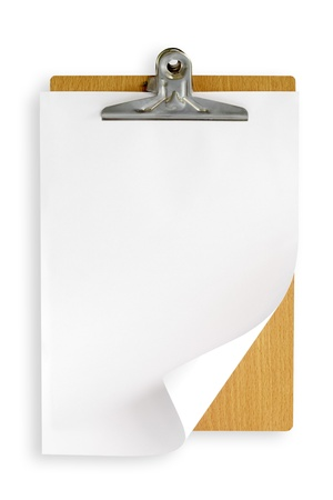 clipboard with white paper