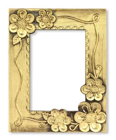spiegelbeeld: De antieke gouden frame op de witte achtergrond