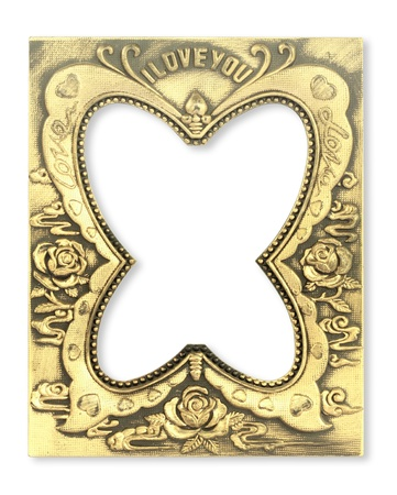 Fancy butterfly gold frame on the white background photo
