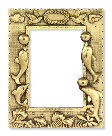 Fancy gold frame on the white background  photo