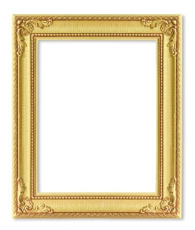 ornate gold frame: El marco de oro antiguo en el fondo blanco Foto de archivo