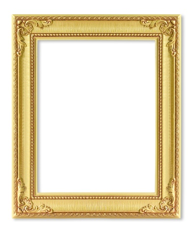 baroque picture frame: The antique gold frame on the white background
