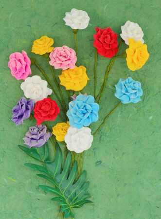 Artificial flower from mulberry paper  photo