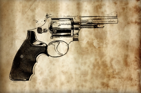 magnum: the gun prints on the old paper background Stock Photo