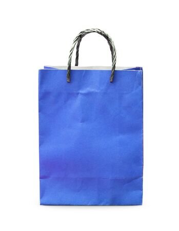 Blank blue paper bag isolated on white background Stock Photo