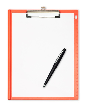 clipboard with  pen isolated on white photo