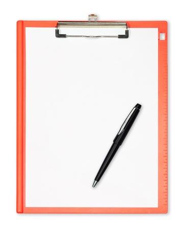 portapapeles: Portapapeles con pluma aislados en blanco