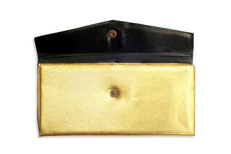 Gold purse on the white background photo