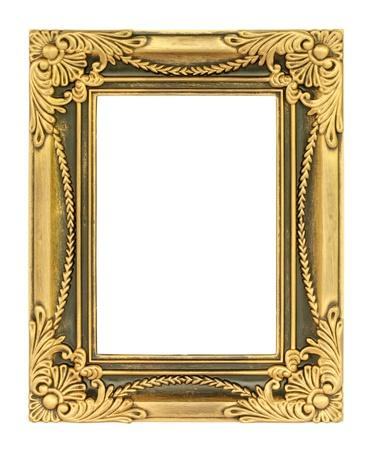 Baroque picture frame: Le cadre dor� antique sur le fond blanc Banque d'images