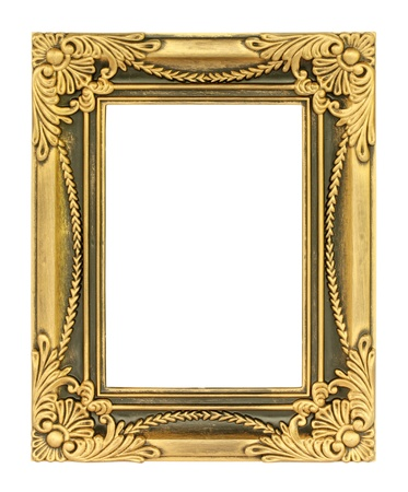 gold textured background: The antique gold frame on the white background