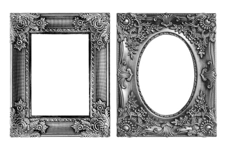 picture frame on wall: The antique frame on the white background Stock Photo