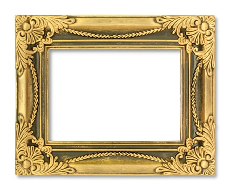 The antique gold frame on the white background Stock Photo - 15442231