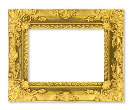 The antique gold frame on the white background Stock Photo - 15442218