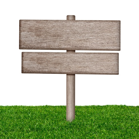 empty street: Wooden sign with green grass isolated on a white background