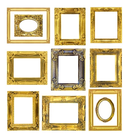 The antique gold frame on the white background Stock Photo - 15758447