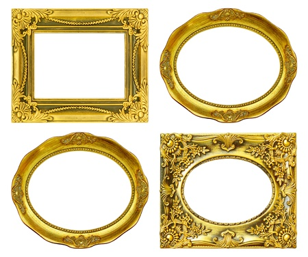 The antique gold frame on the white background Stock Photo - 16155189
