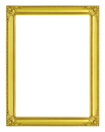 The antique gold frame on the white background Stock Photo - 16458949