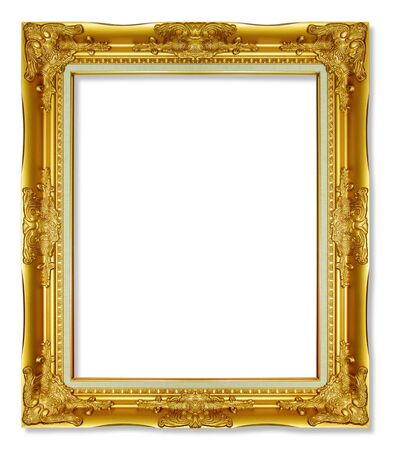 The antique gold frame on the white background Stock Photo - 16784278