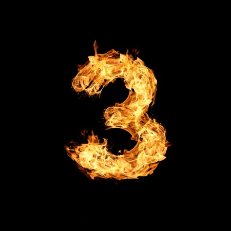 Number one made from fire Stock Photo - 17291387