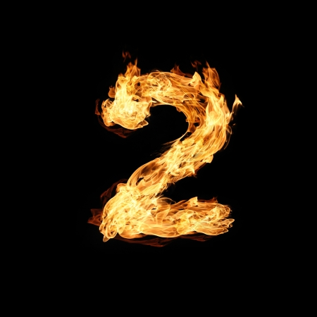 raging: Number two made from fire Stock Photo