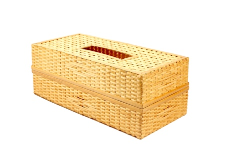 Tissue box made from bamboo isolated on a white photo