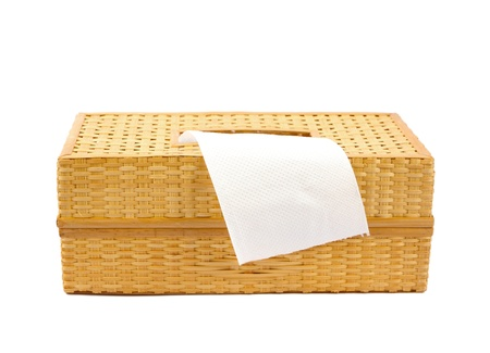 wickerwork: Tissue box made from bamboo isolated on a white