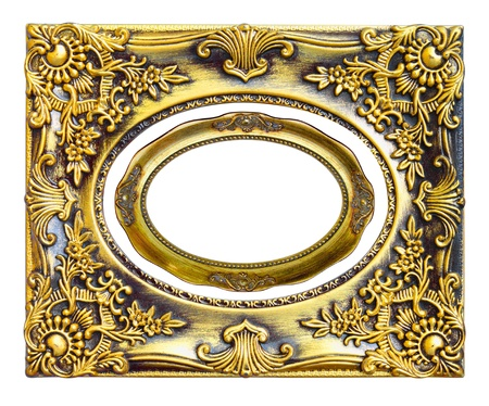 The gold frame on the white background photo