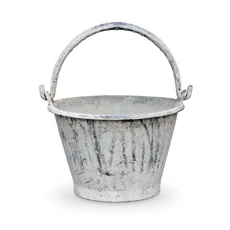 pail for about cement work on white background photo