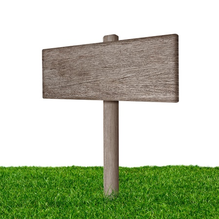 Wooden sign with green grass isolated on a white background photo