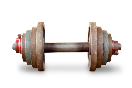 kilos: Dumbbell weights on white background
