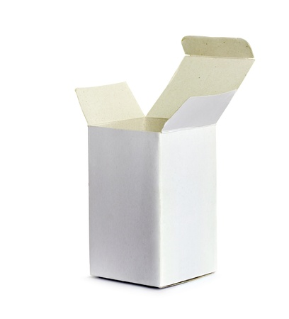 white cardboard box on a white background photo