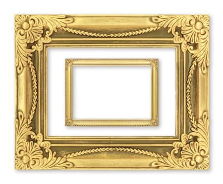 barroco: El marco de oro antiguo en el fondo blanco Foto de archivo