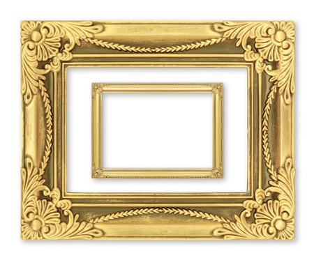 baroque border: The antique gold frame on the white background