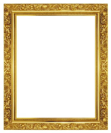 gold frame: The antique gold frame on the white background