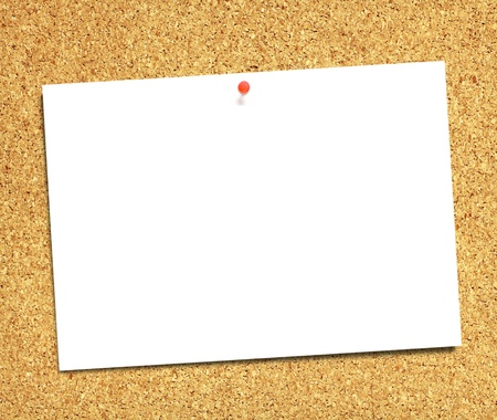 white paper on the cork board background photo