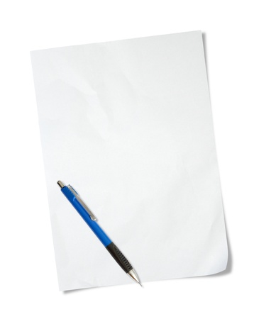 white paper with pen isolated on white