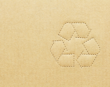 Cardboard box background with recycle symbol Reklamní fotografie