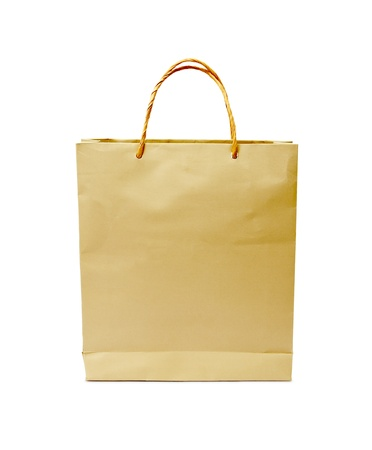 carryall: blank brown paper bag isolated on white background Stock Photo