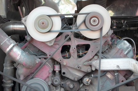 Pulley of engine motor is working photo