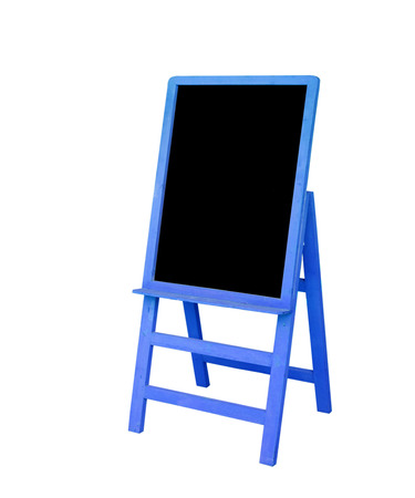 Blue frame black board is on white background