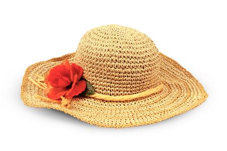 chapeau paille: Joli chapeau de paille avec des fleurs sur fond blanc
